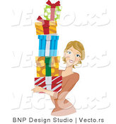 Vector of Girl Carrying a Stack of Gifts by BNP Design Studio