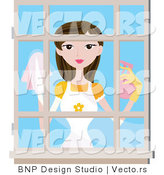 Vector of Girl Cleaning House Window by BNP Design Studio
