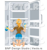 Vector of Girl Cleaning Refrigerator by BNP Design Studio