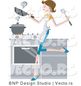 Vector of Girl Cooking in a Kitchen by BNP Design Studio