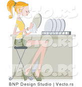 Vector of Girl Drying Clean Dishes by BNP Design Studio