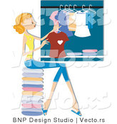 Vector of Girl Hanging Clean Laundry in a Closet by BNP Design Studio