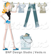 Vector of Girl Hanging Clean Laundry on a Clothes Line by BNP Design Studio