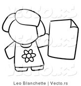 Vector of Girl Holding a Blank Paper - Coloring Page Outlined Art by Leo Blanchette