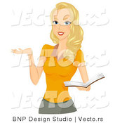 Vector of Girl Holding School Book While Gesturing by BNP Design Studio