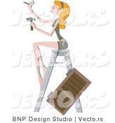 Vector of Girl Installing a New Shutter Blind on a House by BNP Design Studio