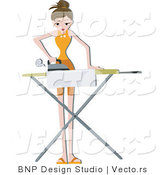 Vector of Girl Ironing Clean Clothes by BNP Design Studio