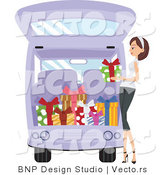 Vector of Girl Loading Presents into a Van by BNP Design Studio