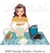 Vector of Girl Organizing Papers in Her Home Office by BNP Design Studio
