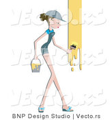 Vector of Girl Painting Wall Yellow by BNP Design Studio