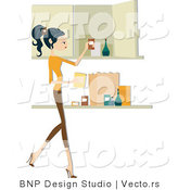 Vector of Girl Putting Away Groceries by BNP Design Studio