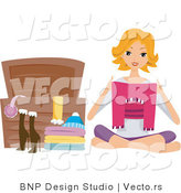 Vector of Girl Putting Clothes in a Chest by BNP Design Studio