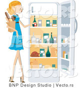 Vector of Girl Putting Groceries in a Fridge by BNP Design Studio