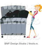 Vector of Girl Putting Trash in a Dumpster by BNP Design Studio