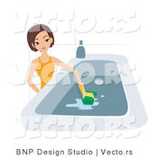 Vector of Girl Scrubbing a Tub by BNP Design Studio