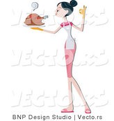 Vector of Girl Serving a Hot Turkey on a Platter by BNP Design Studio