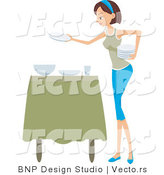 Vector of Girl Setting the Table by BNP Design Studio