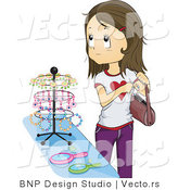 Vector of Girl Stealing Jewelry at a Store by BNP Design Studio