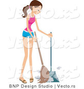Vector of Girl Sweeping up Dust by BNP Design Studio