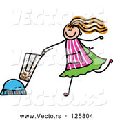 Vector of Girl Vacuuming by Prawny