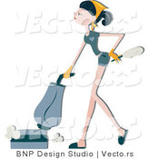 Vector of Girl Vacuuming Floor While Holding Duster by BNP Design Studio