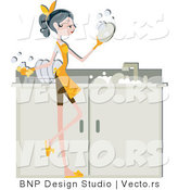 Vector of Girl Washing Dirty Dishes in a Sink by BNP Design Studio