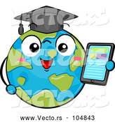 Vector of Globe Earth Graduate Character Holding a Tablet by BNP Design Studio