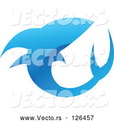 Vector of Glossy Blue Shark Icon Logo by Cidepix