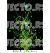 Vector of Glowing Green Floral Vines with Butterflies Against Black Background Design by MilsiArt