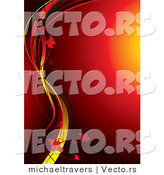 Vector of Glowing Red Orb Background with Yellow Vines and Flowers by Michaeltravers