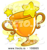 Vector of Gold Grophy Cup and Stars by BNP Design Studio