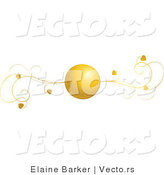 Vector of Gold Heart Ball and Vines - Web Header Flourish Design Element by Elaineitalia