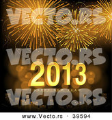 Vector of Golden Fireworks Exploding over a City with Happy New Year 2013 Text Centered by Dero