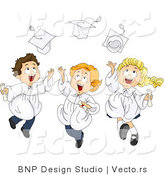 Vector of Graduate Cartoon Styled Kids Happily Tossing Their Caps into the Air by BNP Design Studio