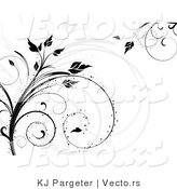 Vector of Gray and Black Silhouetted Vines with Curly Tendrils by KJ Pargeter