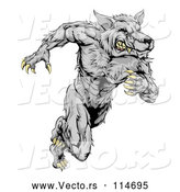 Vector of Gray Muscular Wolf Guy Sprinting by AtStockIllustration