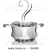Vector of Grayscale Steaming Pot of Soup by BNP Design Studio