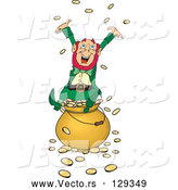 Vector of Greedy and Rich Leprechaun Sitting Atop a Pot of Gold, Tossing Coins into the Air by Dennis Holmes Designs