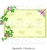 Vector of Green and Beige Rectangle with Floral Vines over Dragonfly Frame by Bpearth