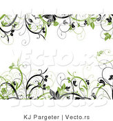 Vector of Green and Black Leafy Vines Border Frame with Blank White Copyspace Background by KJ Pargeter
