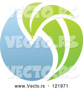 Vector of Green and Blue Natural Organic Sphere and Leaf 2 by Elena