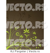 Vector of Green and Brown Vines over Dark Brown Background Design by KJ Pargeter