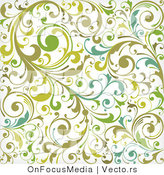 Vector of Green and White Background Pattern with Leafy Vines by OnFocusMedia