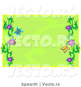 Vector of Green Background with Colorful Butterflies and Floral Vines by Bpearth