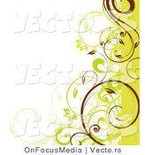 Vector of Green, Beige and Brown Curly Vines Border Design Element by OnFocusMedia
