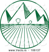 Vector of Green Crops and Mountains Logo Design by ColorMagic