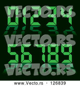 Vector of Green Digital Clock Numbers on Black - Collage by Michaeltravers