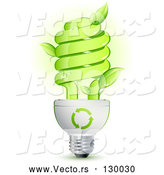 Vector of Green Energy Efficient Lightbulb with Leaves Sprouting from the Glass and Green Arrows Above the Spiral by Beboy