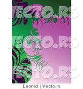 Vector of Green Floral Designs over Pink Gradient Background Version 2 by Leonid