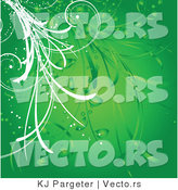 Vector of Green Floral Vines Background Design by KJ Pargeter